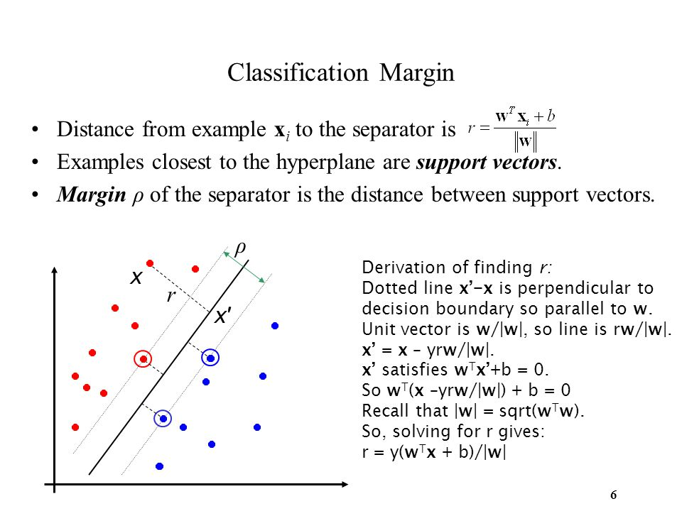6 Classification Margin Distance from example x i to the separator is Examples closest to the hyperplane are support vectors. Margin ρ of the separato