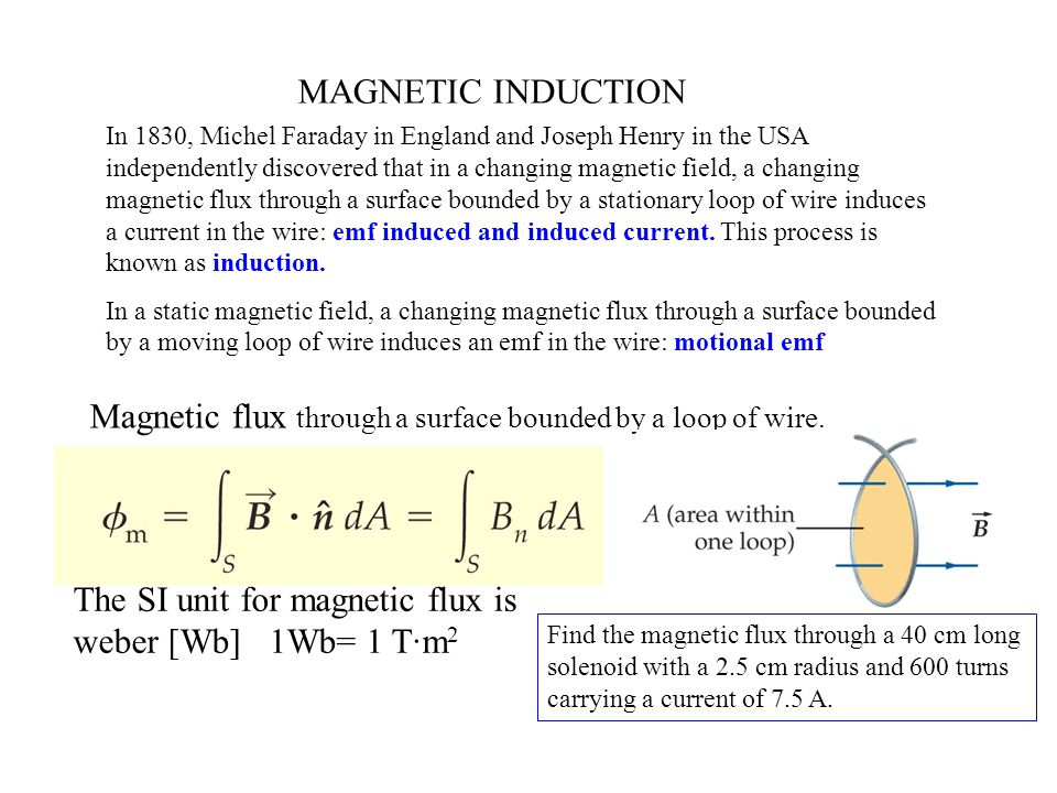 MAGNETIC INDUCTION In 1830, Michel Faraday in England and Joseph Henry in the USA independently discovered that in a changing magnetic field, a changing magnetic flux through a surface bounded by a stationary loop of wire induces a current in the wire: emf induced and induced current.