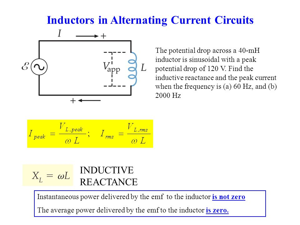 Inductors in Alternating Current Circuits Instantaneous power delivered by the emf to the inductor is not zero The average power delivered by the emf to the inductor is zero.