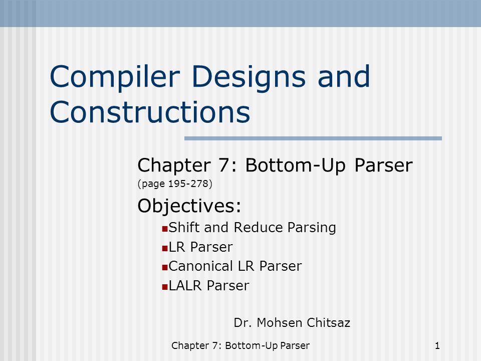 Chapter 7: Bottom-Up Parser22 I 0 =CLOSURE (E' -->.E) I 0 =E' -->.E E -->.E+T E -->.T T -->.T*F T -->.F F -->.(E) F -->.id 0.
