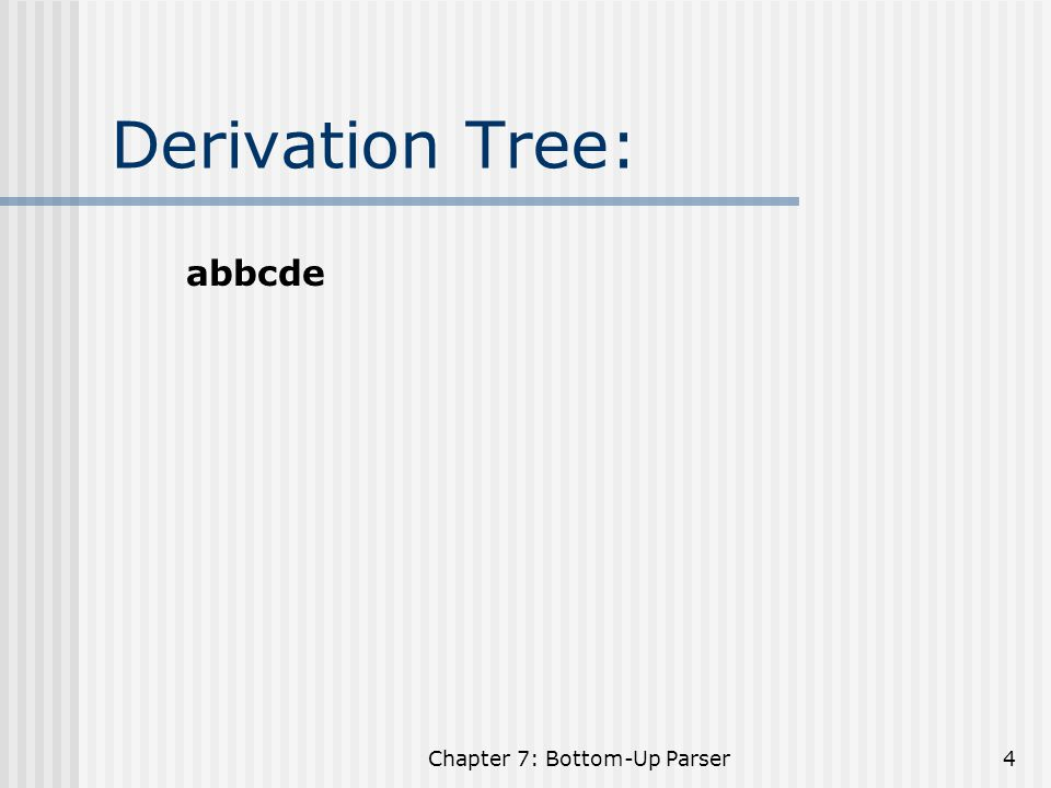 Chapter 7: Bottom-Up Parser5 Handle: S ==>  A  ==>  B  A---> B Implementation: Shift: Push(NextInputSymbol), Advance Reduce: Pop(Handle), Push(LHS) Accept Error: Definition of Handles