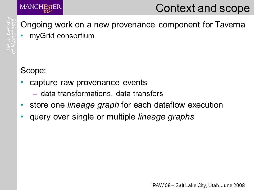 IPAW 08 – Salt Lake City, Utah, June 2008 Example (Taverna) dataflow QTL -> genes -> Kegg pathways
