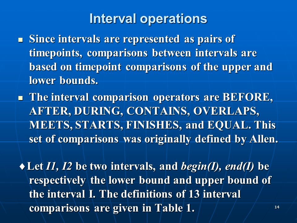 14 Interval operations Since intervals are represented as pairs of timepoints, comparisons between intervals are based on timepoint comparisons of the