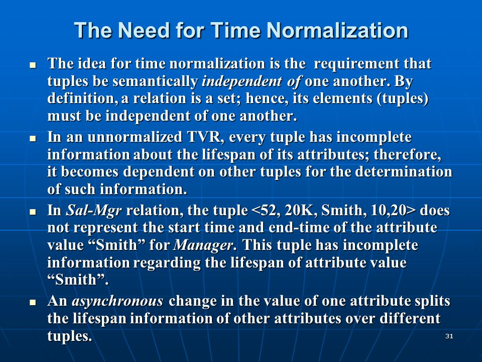 31 The Need for Time Normalization The idea for time normalization is the requirement that tuples be semantically independent of one another. By defin