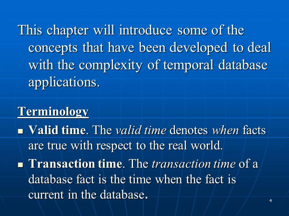 35 - Retrieval of temporally ordered information - Retrieval of temporally ordered information - Specification of time domain using the TIME- SLICE clause - Specification of time domain using the TIME- SLICE clause - Modified aggregate functions and the GROUP BY clause - Modified aggregate functions and the GROUP BY clause The formal syntax of a TSQL retrieval statement: The formal syntax of a TSQL retrieval statement: SELECT [FIRST  SECOND THIRD  Nth  LAST] SELECT [FIRST  SECOND THIRD  Nth  LAST]select_item_list FROM table_name_list FROM table_name_list WHEN temporal_comparison_list WHEN temporal_comparison_list WHERE search_condition_list WHERE search_condition_list