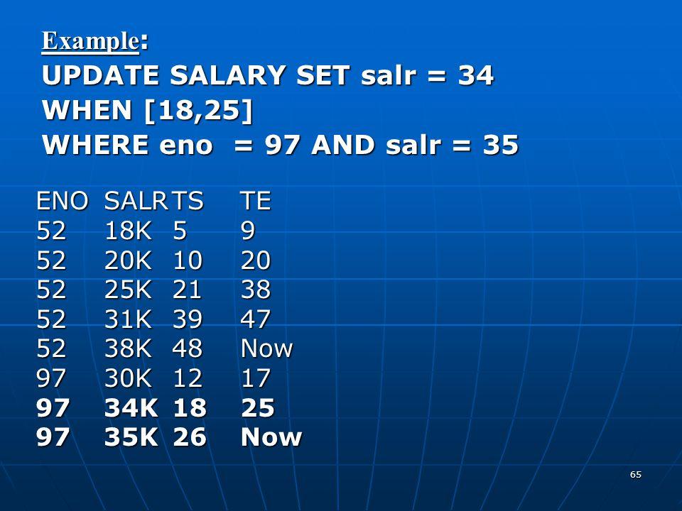 65 Example : UPDATE SALARY SET salr = 34 WHEN [18,25] WHERE eno = 97 AND salr = 35 ENOSALRTSTE 5218K59 5220K1020 5225K2138 5231K3947 5238K48Now 9730K1