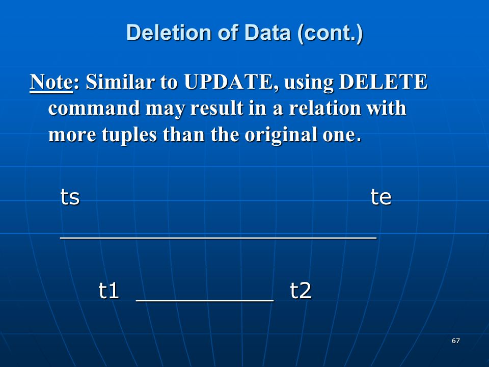 67 Deletion of Data (cont.) Note: Similar to UPDATE, using DELETE command may result in a relation with more tuples than the original one. ts te ts te