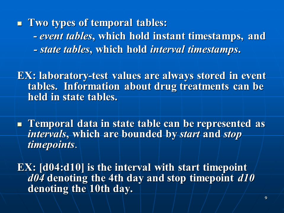9 Two types of temporal tables: Two types of temporal tables: - event tables, which hold instant timestamps, and - event tables, which hold instant ti