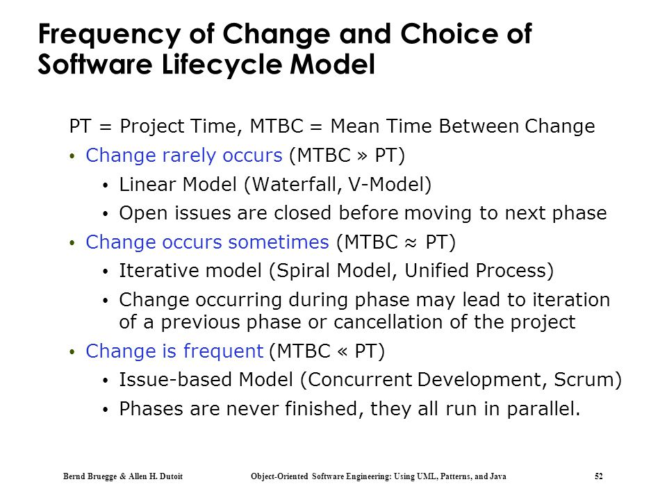 Bernd Bruegge & Allen H. Dutoit Object-Oriented Software Engineering: Using UML, Patterns, and Java 52 Frequency of Change and Choice of Software Life