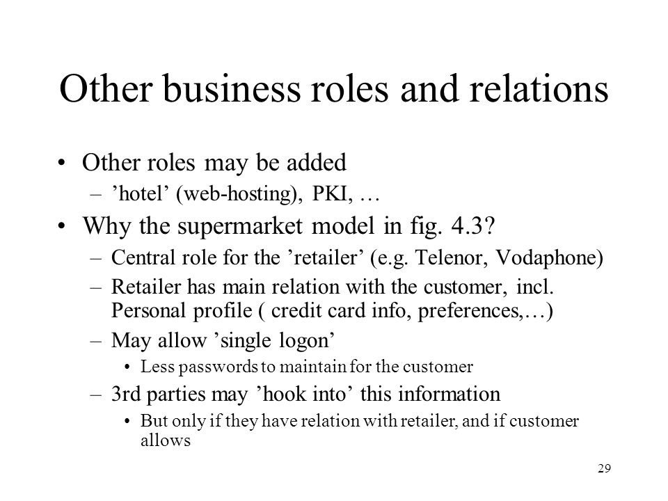 29 Other business roles and relations Other roles may be added –'hotel' (web-hosting), PKI, … Why the supermarket model in fig.