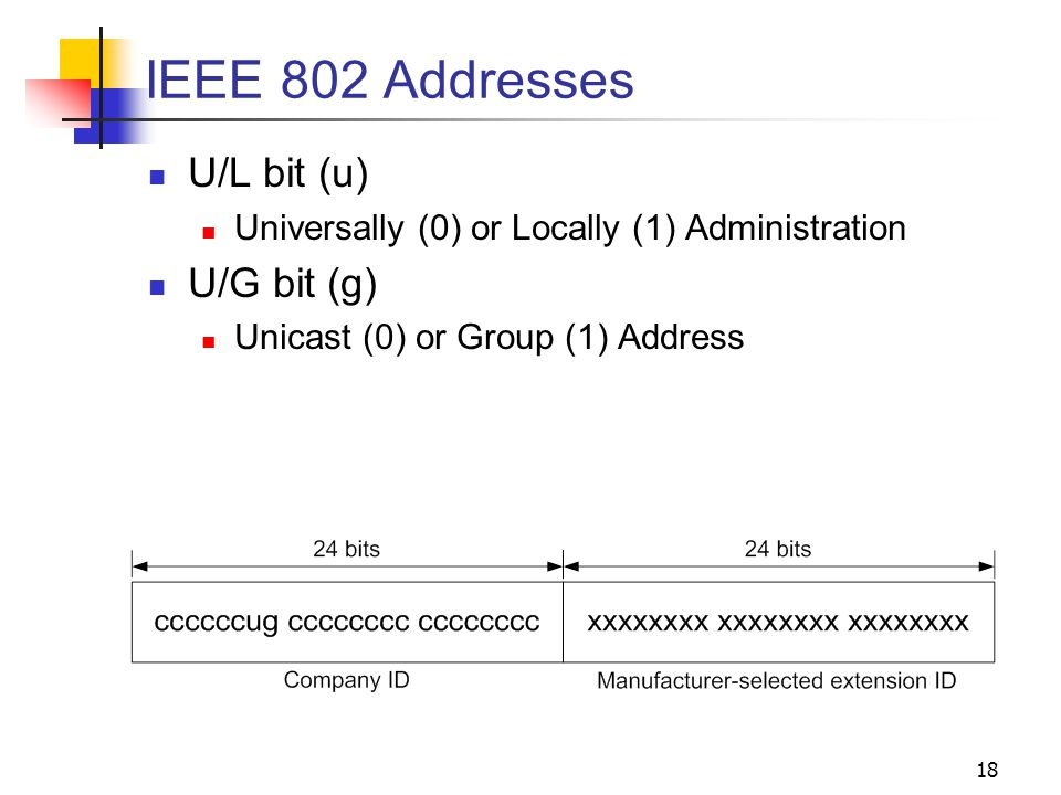 18 IEEE 802 Addresses U/L bit (u) Universally (0) or Locally (1) Administration U/G bit (g) Unicast (0) or Group (1) Address