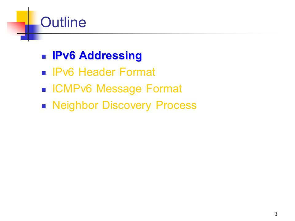 14 Other IPv6 addresses Solicited-node address Facilitates the efficient query of network node during address resolution (ICMPv6 Neighbor Discovery) Prefix= FF02::1:FF00:0000/104 and the last 24-bits of IPv6 address Anycast IPv6 address Assigned to multiple interfaces Only used as destination address Only assigned to router Anycast addresses are indistinguishable from unicast Subnet-router anycast address is predefined and requires