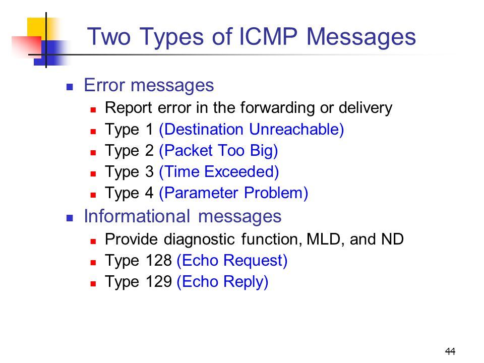 44 Two Types of ICMP Messages Error messages Report error in the forwarding or delivery Type 1 (Destination Unreachable) Type 2 (Packet Too Big) Type