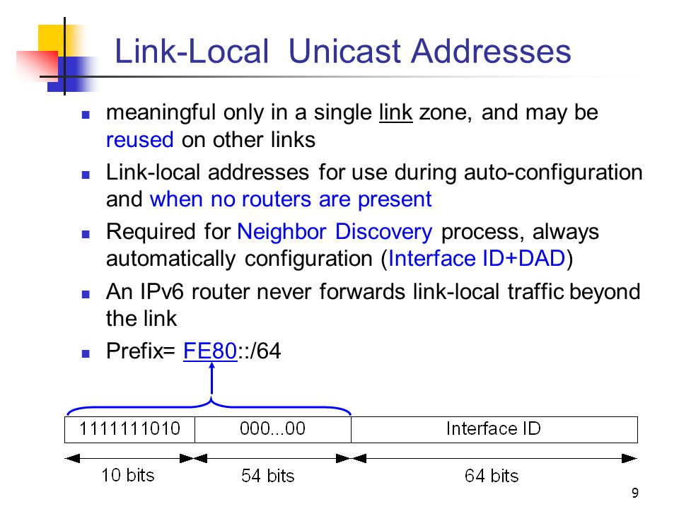 9 Link-Local Unicast Addresses meaningful only in a single link zone, and may be reused on other links Link-local addresses for use during auto-config