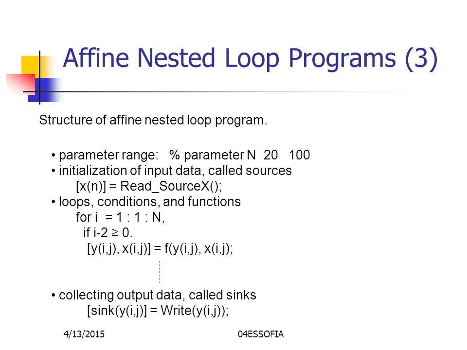 4/13/201504ESSOFIA Affine Nested Loop Programs (3) Structure of affine nested loop program.