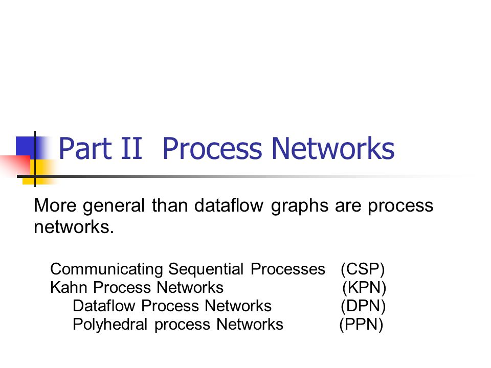 Part II Process Networks More general than dataflow graphs are process networks.