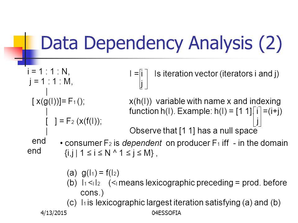 4/13/201504ESSOFIA Data Dependency Analysis (2) i = 1 : 1 : N, j = 1 : 1 : M, | [ x(g(I))]= F 1 (); | [ ] = F 2 (x(f(I)); | end x(h(I)) variable with name x and indexing function h(I).
