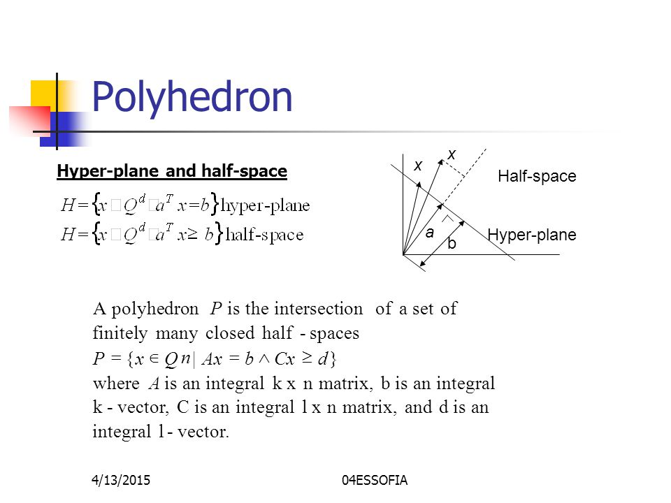 4/13/201504ESSOFIA Polyhedron Hyper-plane and half-space x a x b Hyper-plane Half-space vector.-l integral an is d and matrix,n xl integralan is C vector,-k integralan is b matrix,nk x integralan is where }|{ spaces-half closedmanyfinitely ofset a of intersection theis polyhedronA A dCxbAxQxP P n 