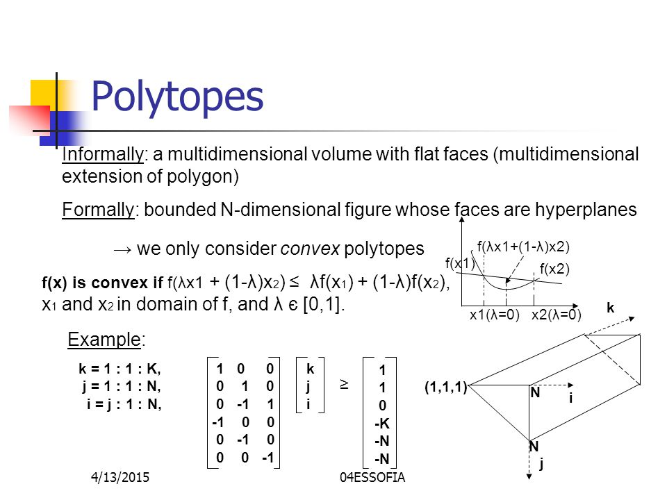 4/13/201504ESSOFIA Polytopes Informally: a multidimensional volume with flat faces (multidimensional extension of polygon) Formally: bounded N-dimensional figure whose faces are hyperplanes Example: k = 1 : 1 : K, j = 1 : 1 : N, i = j : 1 : N, 1 0 0 0 1 0 0 -1 1 -1 0 0 0 -1 0 0 0 -1 kjikji ≥ 1 0 -K -N k j i N N (1,1,1) → we only consider convex polytopes f(x) is convex if f(λx1 + (1-λ)x 2 ) ≤ λf(x 1 ) + (1-λ)f(x 2 ), x 1 and x 2 in domain of f, and λ є [0,1].