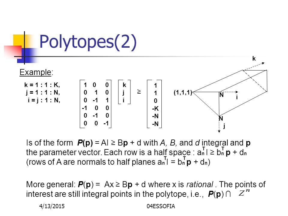 4/13/201504ESSOFIA Polytopes(2) Example: k = 1 : 1 : K, j = 1 : 1 : N, i = j : 1 : N, 1 0 0 0 1 0 0 -1 1 -1 0 0 0 -1 0 0 0 -1 kjikji ≥ 1 0 -K -N k j i N N (1,1,1) More general: P(p) = Ax ≥ Bp + d where x is rational.