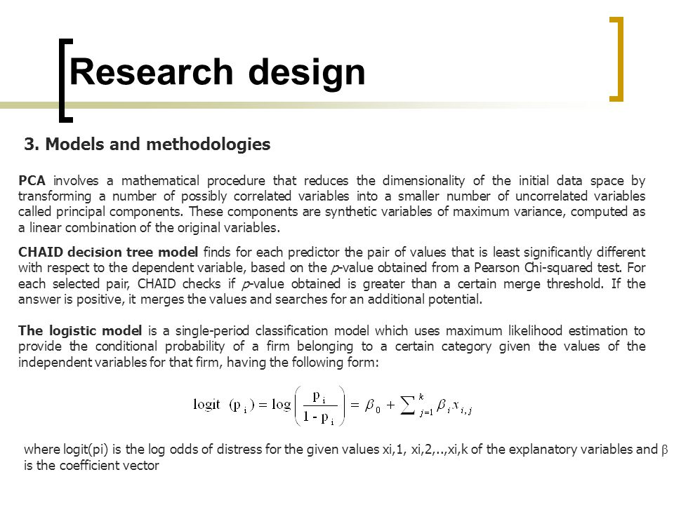 Research design PCA involves a mathematical procedure that reduces the dimensionality of the initial data space by transforming a number of possibly c