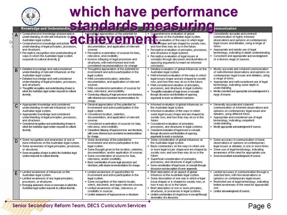 Senior Secondary Reform Team, DECS Curriculum Services which have performance standards measuring achievement.