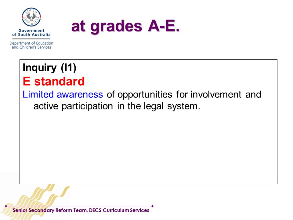Senior Secondary Reform Team, DECS Curriculum Services Inquiry (I1) A standard Insightful appreciation of the potential for involvement and active participation in the legal system.