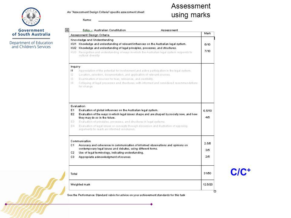 Assessment using marks C/C +