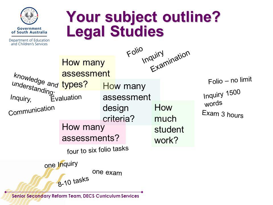 Senior Secondary Reform Team, DECS Curriculum Services Your subject outline.