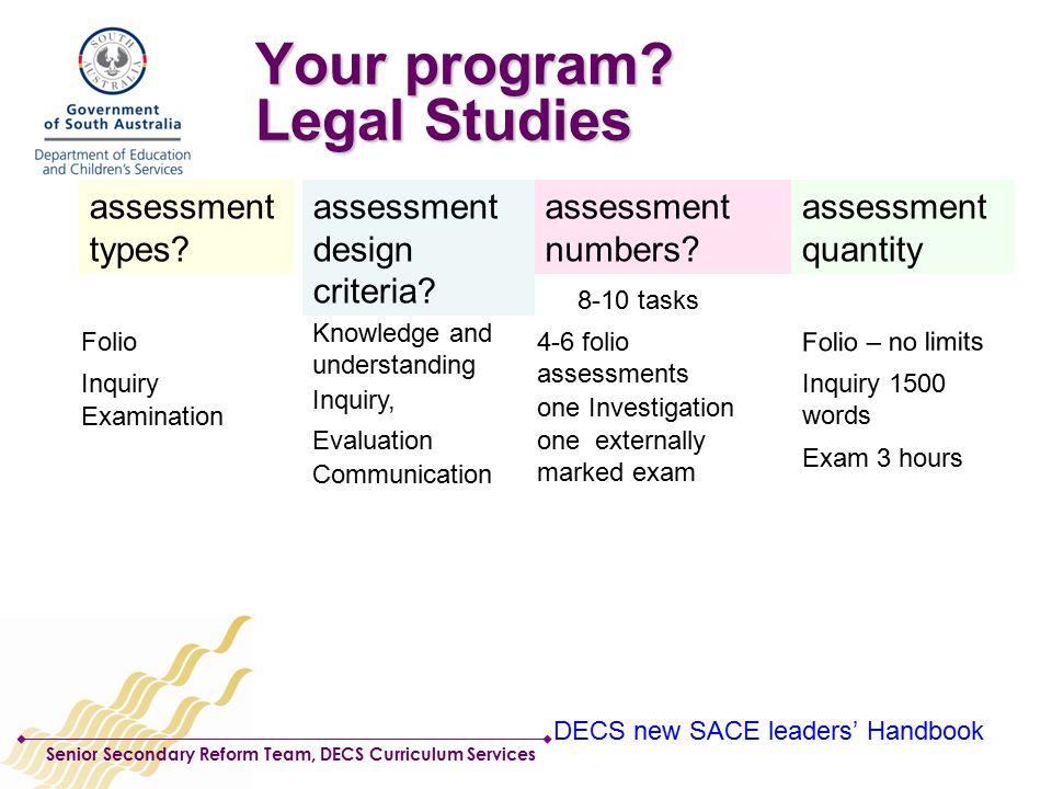 Senior Secondary Reform Team, DECS Curriculum Services Your program.
