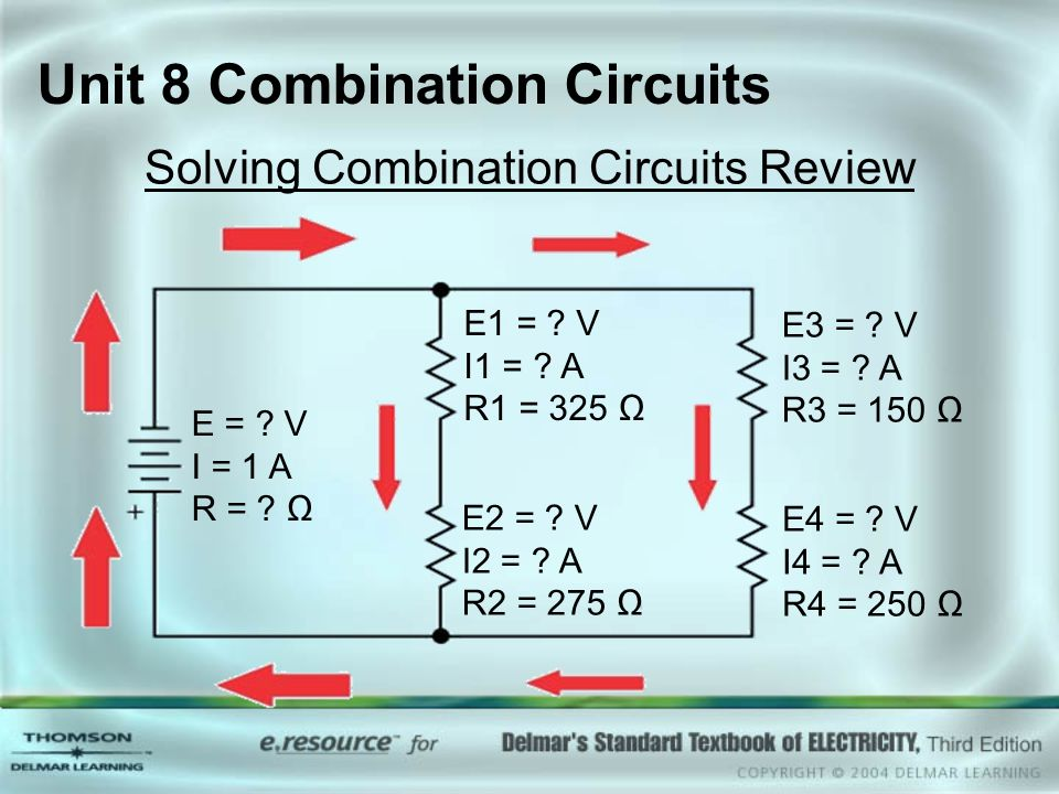 Unit 8 Combination Circuits Solving Combination Circuits Review E = ? V I = 1 A R = ? Ω E1 = ? V I1 = ? A R1 = 325 Ω E2 = ? V I2 = ? A R2 = 275 Ω E3 =
