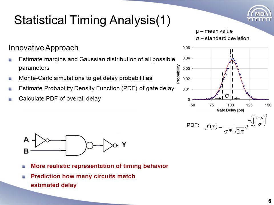 6 Statistical Timing Analysis(1) σ – standard deviation μ – mean value PDF: Innovative Approach Estimate margins and Gaussian distribution of all possible parameters Monte-Carlo simulations to get delay probabilities Estimate Probability Density Function (PDF) of gate delay Calculate PDF of overall delay More realistic representation of timing behavior Prediction how many circuits match estimated delay μ σ