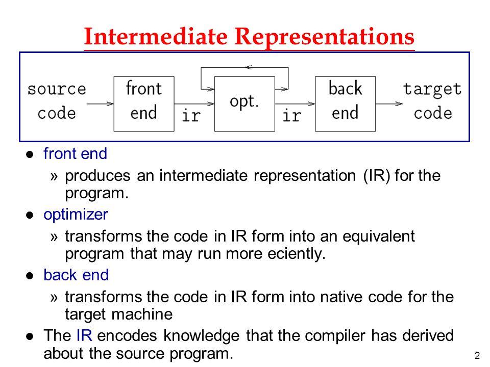13 Representation of TAC l can use quadruples (op x y z) to represent the TAC: x  y op z.