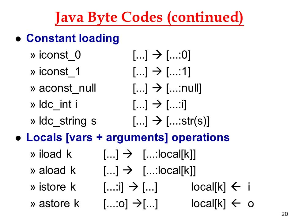 20 Java Byte Codes (continued) l Constant loading »iconst_0 [...]  [...:0] »iconst_1 [...]  [...:1] »aconst_null [...]  [...:null] »ldc_int i [...]  [...:i] »ldc_string s [...]  [...:str(s)] l Locals [vars + arguments] operations »iload k [...]  [...:local[k]] »aload k[...]  [...:local[k]] »istore k [...:i]  [...] local[k]  i »astore k [...:o]  [...] local[k]  o