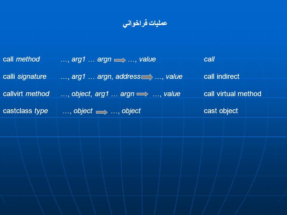 call method…, arg1 … argn …, value call calli signature…, arg1 … argn, address …, value call indirect callvirt method …, object, arg1 … argn …, value call virtual method castclass type …, object …, objectcast object عمليات فراخواني