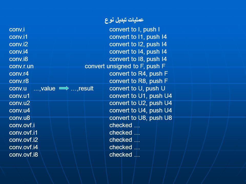 conv.i convert to I, push I conv.i1 convert to I1, push I4 conv.i2 convert to I2, push I4 conv.i4 convert to I4, push I4 conv.i8 convert to I8, push I4 conv.r.un convert unsigned to F, push F conv.r4 convert to R4, push F conv.r8 convert to R8, push F conv.u...,value …,result convert to U, push U conv.u1 convert to U1, push U4 conv.u2 convert to U2, push U4 conv.u4 convert to U4, push U4 conv.u8 convert to U8, push U8 conv.ovf.i checked … conv.ovf.i1 checked … conv.ovf.i2 checked … conv.ovf.i4 checked … conv.ovf.i8 checked … عمليات تبديل نوع