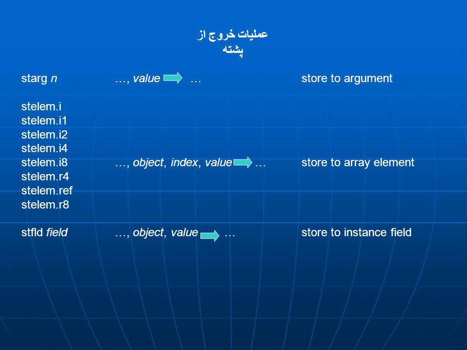 عمليات خروج از پشته starg n …, value … store to argument stelem.i stelem.i1 stelem.i2 stelem.i4 stelem.i8…, object, index, value …store to array element stelem.r4 stelem.ref stelem.r8 stfld field …, object, value … store to instance field