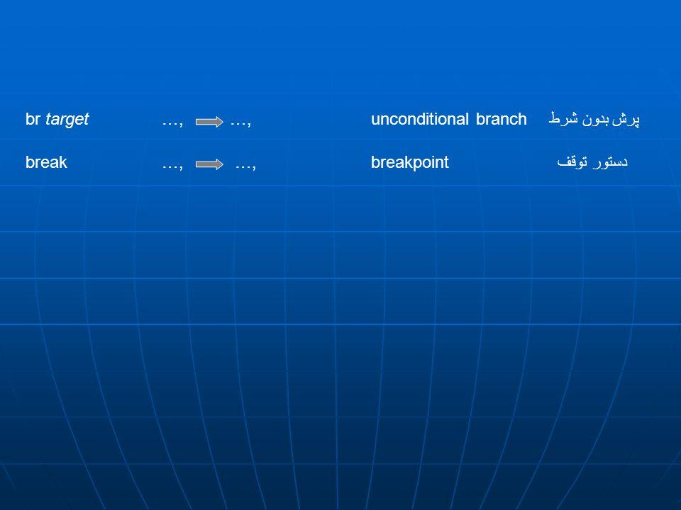 br target …, …, unconditional branch پرش بدون شرط break …, …, breakpointدستور توقف