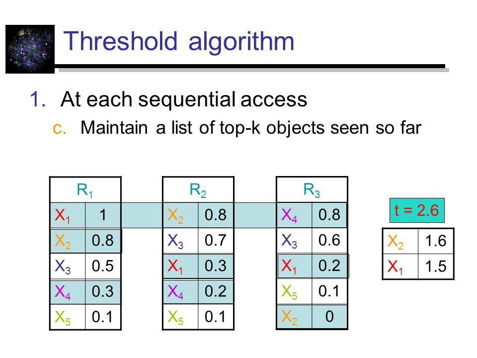 Threshold algorithm  At each sequential access  Maintain a list of top-k objects seen so far R1R1 X1X1 1 X2X2 0.8 X3X3 0.5 X4X4 0.3 X5X5 0.1 R2R2