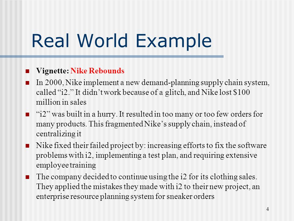"""4 Real World Example Vignette: Nike Rebounds In 2000, Nike implement a new demand-planning supply chain system, called """"i2."""" It didn't work because of"""
