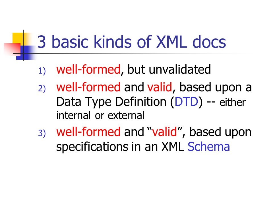 3 basic kinds of XML docs 1) well-formed, but unvalidated 2) well-formed and valid, based upon a Data Type Definition (DTD) -- either internal or exte
