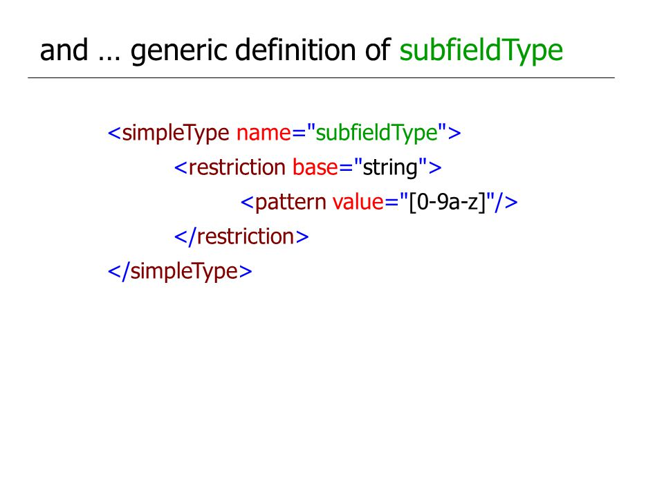 and … generic definition of subfieldType