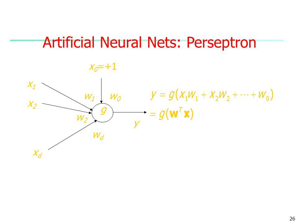 26 Artificial Neural Nets: Perseptron x1x1 xdxd x2x2 x 0 =+1 w1w1 w2w2 wdwd w0w0 y g