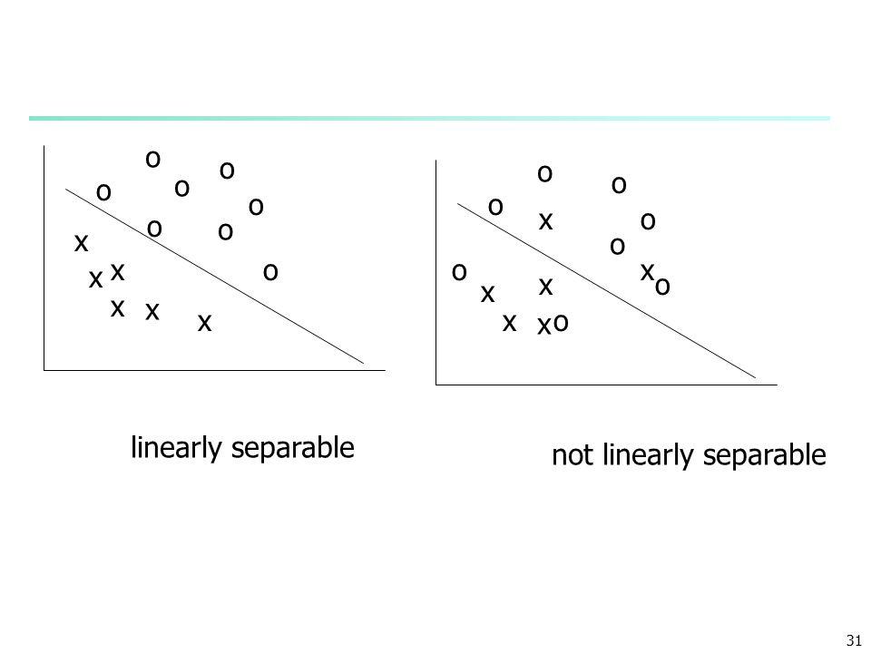 31 o o o o o o o o x x x x x x o o o o o o o o x x x x x x linearly separable not linearly separable