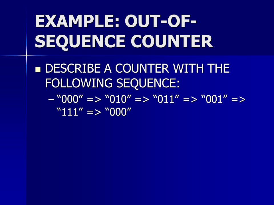 "EXAMPLE: OUT-OF- SEQUENCE COUNTER DESCRIBE A COUNTER WITH THE FOLLOWING SEQUENCE: DESCRIBE A COUNTER WITH THE FOLLOWING SEQUENCE: –""000"" => ""010"" => """