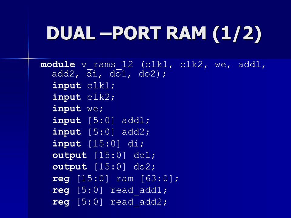 DUAL –PORT RAM (1/2) module v_rams_12 (clk1, clk2, we, add1, add2, di, do1, do2); input clk1; input clk2; input we; input [5:0] add1; input [5:0] add2