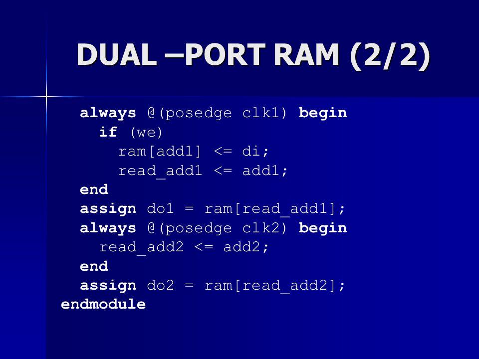 DUAL –PORT RAM (2/2) always @(posedge clk1) begin if (we) ram[add1] <= di; read_add1 <= add1; end assign do1 = ram[read_add1]; always @(posedge clk2)