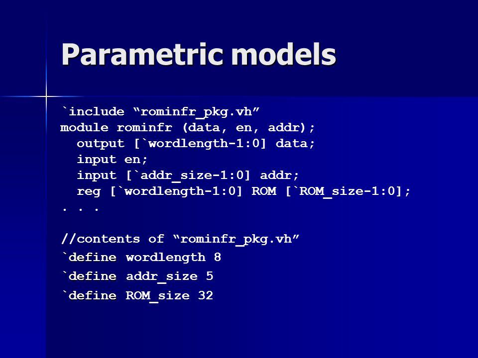 """Parametric models `include """"rominfr_pkg.vh"""" module rominfr (data, en, addr); output [`wordlength-1:0] data; input en; input [`addr_size-1:0] addr; reg"""