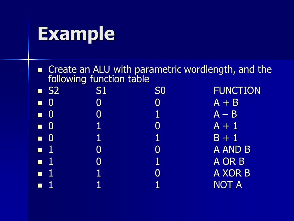 Example Create an ALU with parametric wordlength, and the following function table Create an ALU with parametric wordlength, and the following functio