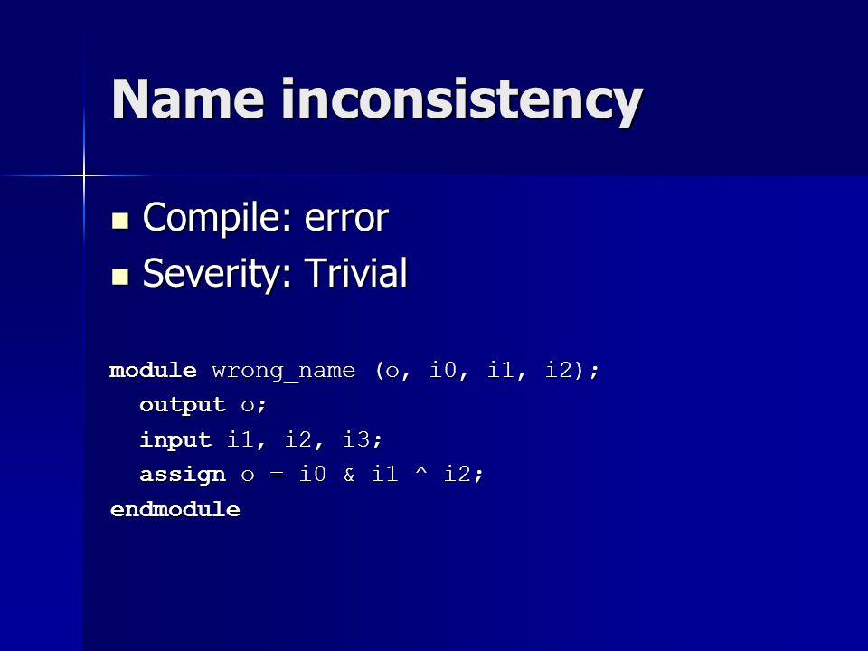 Name inconsistency Compile: error Compile: error Severity: Trivial Severity: Trivial module wrong_name (o, i0, i1, i2); output o; output o; input i1,